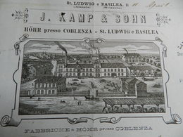 12.2) KOBLENZ COBLENZA KAMP & SOHN FABBRICA HOHR BELLISSIMA FATTURA DEL 1889 CON STUPENDA INTESTAZIONE CON MANDATO DI - Germania
