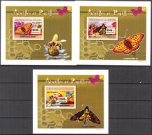 A{161} Guinea 2007 Butterflies Honeybees 3 S/S Deluxe MNH** - Guinea (1958-...)