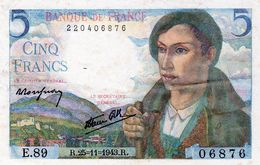Billet De 5 Francs Berger Le 25-11-1943 En S P L - - 1871-1952 Circulated During XXth