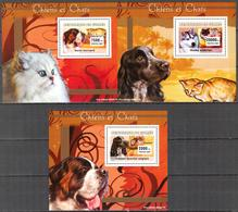A{165} Guinea 2007 Dogs Cats 3 S/S Deluxe MNH** - Guinea (1958-...)