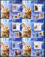 A{166} Guinea 2009 Birds Owls Stamps On Stamps 6 S/S Deluxe MNH** - Guinea (1958-...)