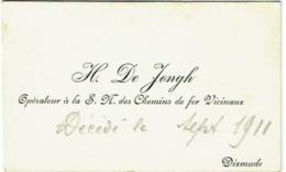 Carte Visite. Dixmude. De Jongh, Opérateur à La S.M. Des Chemins De Fer Vicinaux. 1910. - Cartes De Visite