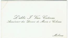 Carte Visite. Religion. Abbé Van Cutsem, Aumonier Des Dames De Marie à Coloma. Malines. - Cartes De Visite