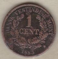 Danish West Indies. 1 Cent 1883. Christian IX. KM# 68 - Monete