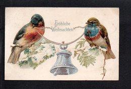 Allemagne / Fröhliche Weihnachten, Joyeux Noël  / Fantaisie,Oiseaux,cloche,gaufrée - Germany