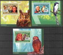 A{170} Guinea 2006 Birds Owls J.J. Audubon 3 S/S Deluxe MNH** - Guinea (1958-...)