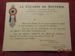 """Carte """" La Cocarde Du Souvenir"""" Souscription - Autres"""