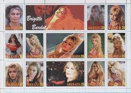 Abkhazia / Stamps / Private Issue. Brigitte Bardot . French Movie Stars. 2018. - Fantasy Labels