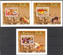A{173} Guinea 2007 Honeybees Flowers Orchids 3 S/S Deluxe MNH** - Guinea (1958-...)