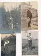 Lot De 4 Photos Amateurs - Jardinage - Jardiniers - Paysans Faucheurs D'herbes - Travaux Des Champs - Arosoir - Métiers