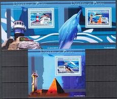 A{174} Guinea 2007 Lighthouses Dolphins 3 S/S Deluxe MNH** - Guinea (1958-...)