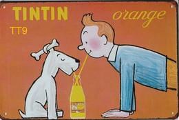 Kuifje/Tintin Orange (TT9) Metalen Plaat/plaque De Métal/tin Sign 30 X 20 Cm - Plaques Publicitaires