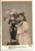 L120B253 - Joyeuse Fête - Fillette Avec Des Roses - N°555 - Other