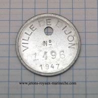 DIJON. Jeton De Taxe Pour Les Propriétaires De Chien. Alu Rond 25.5 Mm. 1947 - Non Classificati