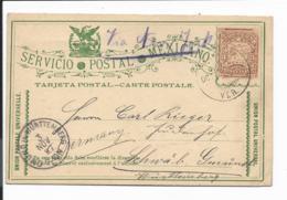Mexico P 71 -  3 Ctv Wappen Ganzsachen-Karte Nach Schwäb.Gmünd 1897 Bedarfsverwendet - Mexico