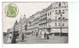 CPA-1911-BELGIQUE-OSTENDE- LA DIGUE-VOIR TIMBRE ET CACHET-ANIMEE-PERSONNAGES-MAGASINS- - Oostende