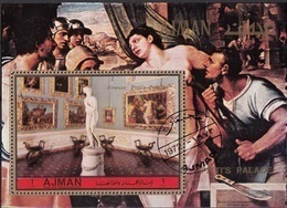 Ajman 1972 Musei Pitti Galleria Palatina Canova Venere Italica S. Del Piombo Martirio Di Sant'Agata Perf. CTO - Sculpture
