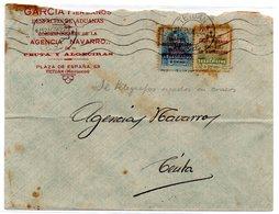 Carta Con Matasellos Rodillo Tetuan 1920. Sellos Telegrafos Y Por Detras Agencia De Aduanas. - Marocco Spagnolo