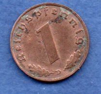 Allemagne  - 1 Reichspfennig  1939 D - Km # 89  -  état  TB - [ 4] 1933-1945 : Troisième Reich