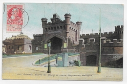 (RECTO / VERSO) OSTENDE EN 1909 - N° 3644 - ENTREE DU CHAMP DE COURSE - BEAU CACHET ET TIMBRE DE BELGIQUE - CPA VOYAGEE - Oostende