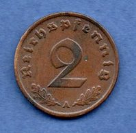 Allemagne --  2 Reichspfennig  1937 A  - Km # 90  - état  TTB - [ 4] 1933-1945 : Third Reich