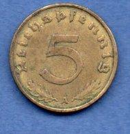 Allemagne --  5 Reichspfennig  1937 A  - Km # 91  - état  TTB - [ 4] 1933-1945 : Third Reich