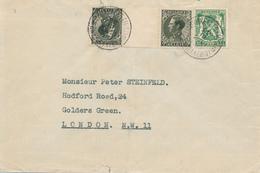 164/29 -  Enveloppe TP Tete Beche Et Petit Sceau BRUXELLES 1937 Vers LONDRES - Verso Vignette Victoria Assurances - Inverted (tête-bêche)