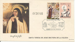 Colombia FDC 26-10-1970 Santa Teresa (a Collector Has Pasted 1 Of His 1963 Dublets On The Cover) - Colombia