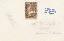 166/29 -  Carte Général Leman TP ORVAL 60 C BRUXELLES 1928 Vers ANDRIMONT - Lettres & Documents