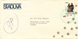 Lithuania Cover Sent To Sweden 14-12-1995 Single Franked - Lithuania