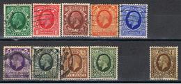 (GB 139) GREAT BRITAIN // YVERT 187,188,189,190,191,192,193,194,195,197 // 1934-36 - 1902-1951 (Kings)