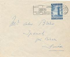 170/29 -  Lettre TP 825 BRUXELLES 1950 Vers La Suisse - Vignette Au Verso ANTITUBERCULEUX (Chevalier) - Cartas