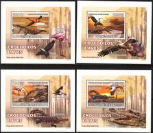 A{240} Guinea Bissau 2008 Birds Crocodiles 4 S/S Deluxe MNH** - Guinea-Bissau