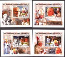 A{243} Guinea Bissau 2010 Pope John Paul II 4 S/S Deluxe MNH** - Guinea-Bissau
