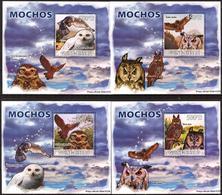 A{246} Guinea Bissau 2008 Birds Owls 4 S/S Deluxe MNH** - Guinea-Bissau