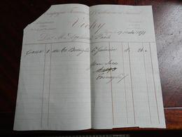12.2) FRANCIA COMPAGNIA FERMIERE DEL'ESTABLISSEMENT THERMAL VICHY FATTURA 1871 ANGOLO ROTTO - Francia