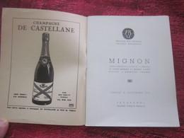 MIGNON 1951 PROGRAMME THÉÂTRE NATIONAL  OPÉRA COMIQUE DE PARIS -PUBS - PHOTOS COMÉDIENS ARTISTES - DANSE - VARIÉTÉS - Programmes
