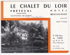 Le Chalet Du Loir - M. LARNAUDIE - Fréteval (41 - Loir Et Cher) - Carte Publicitaire - - Sports & Tourisme