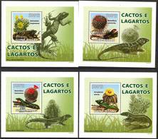 A{252} Guinea Bissau 2008 Flowers Cactus Lizards 4 S/S Deluxe MNH** - Guinea-Bissau