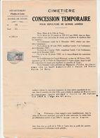 FRANCE CONCESSION TEMPORAIRE POUR UNE SEPULTURE DE QUINZE ANNEES  DU 8/1/1934 - France