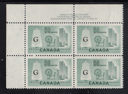 Canada MNH Scott #O38a 'Flying G' Overprint On 50c Textile Industry Plate #1 Upper Left PB - Officials