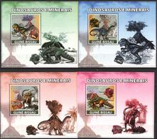 A{255} Guinea Bissau 2008 Dinosaurs Minerals 4 S/S Deluxe MNH** - Guinea-Bissau