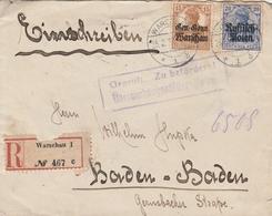 Pologne Occupation Allemande Lettre Recommandée Censurée Warschau Pour L'Allemagne 1917 - ....-1919 Provisional Government
