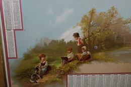 """Calendario-Calendarietto-Calendrier-Kalender-Calendar-Anno1882""""NATURA-BAMBINI-LIBRI-CANE""""-SU CARTONCINO Originale 100% - Calendari"""