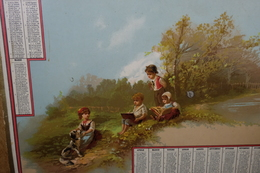 "Calendario-Calendarietto-Calendrier-Kalender-Calendar-Anno1882""NATURA-BAMBINI-LIBRI-CANE""-SU CARTONCINO Originale 100% - Formato Grande : ...-1900"