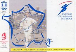 POSTE & FACTEURS 22 : Parcours De La Flame Olympique , XVI° Jeux D Hiver D Albertville Et De La Savoie - Postal Services