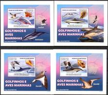 A{258} Guinea Bissau 2008 Birds Dolphins Shells 4 S/S Deluxe MNH** - Guinea-Bissau