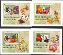 A{259} Guinea Bissau 2007 Butterflies Flowers Orchids 4 S/S Deluxe MNH** - Guinea-Bissau