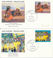 French Polynesia FDC 12-12-1984 ART PAINTINGS Complete Set Of 4 On 4 Cover  With Cachet - FDC