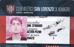 CLUB ATLETICO SAN LORENZO DE ALMAGRO CASLA BOEDO ARGENTINA CREDENCIAL CLUB CARD CIRCA 2017s - BLEUP O. - Fútbol